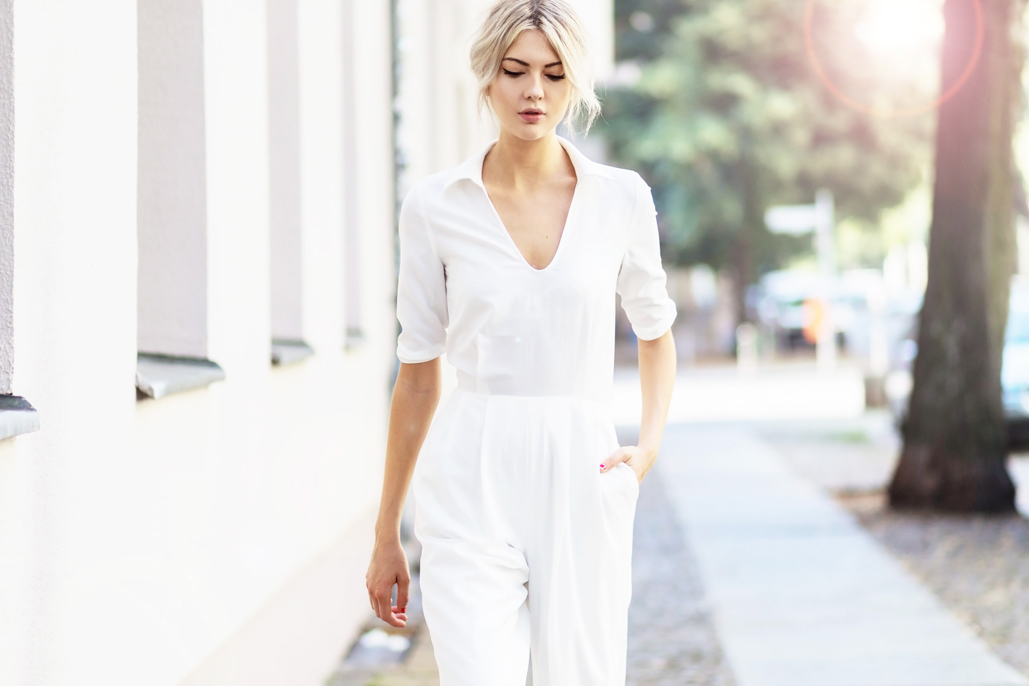 BERLIN, GERMANY - JULY 26:  Ebba Zingmark wearing a white jumpsuit from The 5TH on July 26, 2016 in Berlin, Germany. (Photo by Christian Vierig/Getty Images) *** Local Caption *** Ebba Zingmark