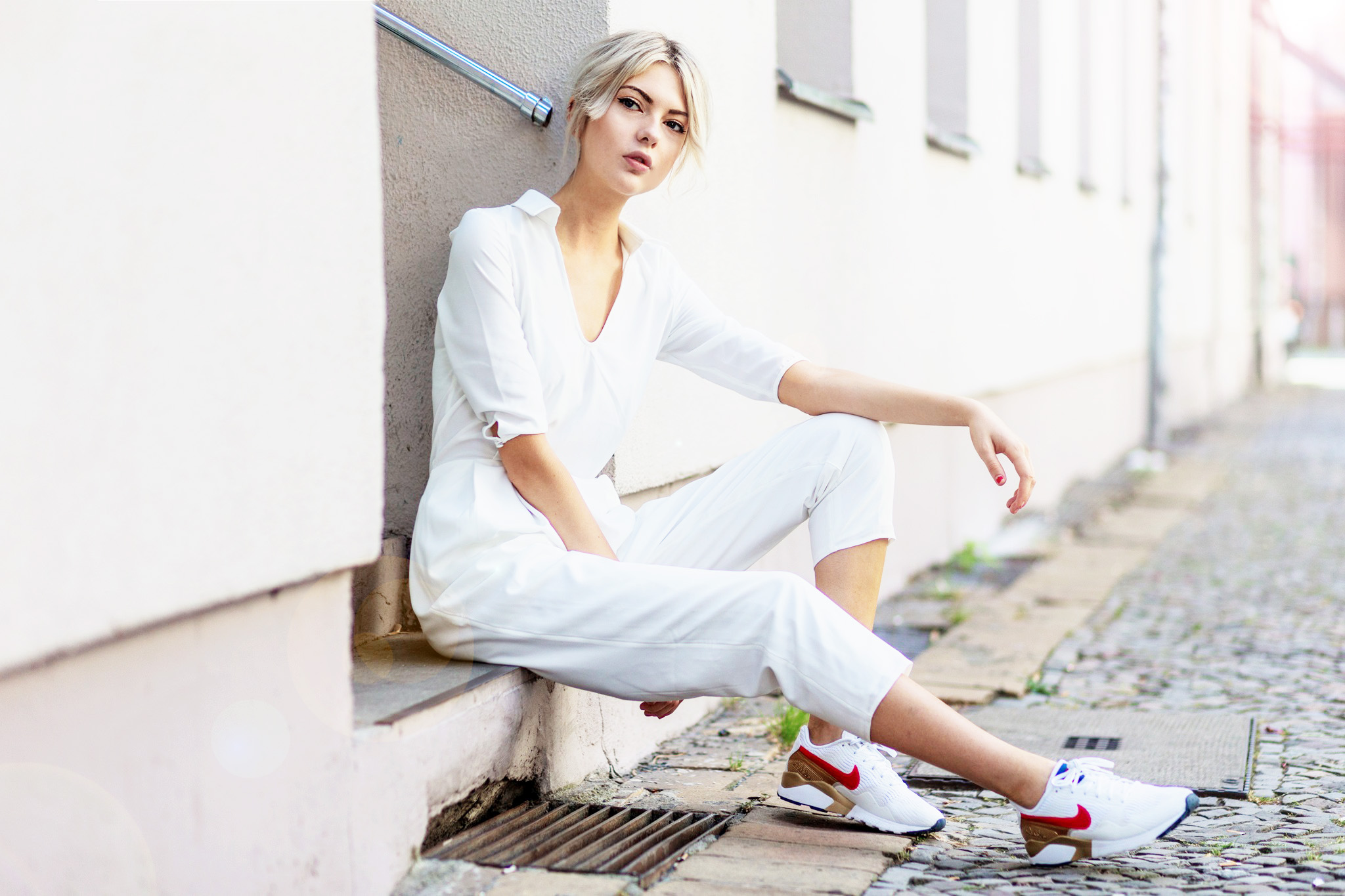 BERLIN, GERMANY - JULY 26:  Ebba Zingmark wearing a white jumpsuit from The 5TH and white Nike sneakers on July 26, 2016 in Berlin, Germany. (Photo by Christian Vierig/Getty Images) *** Local Caption *** Ebba Zingmark